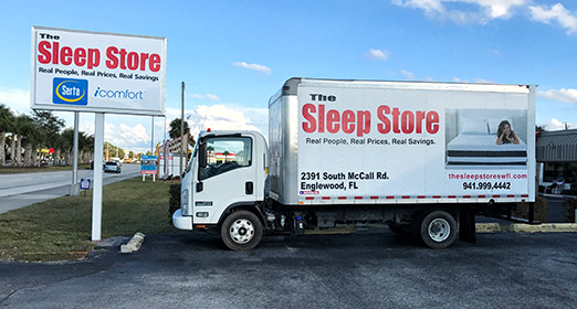 The Sleep Store Truck and Sign