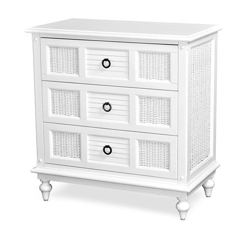 3 Drawer Chest Tropical White Wicker