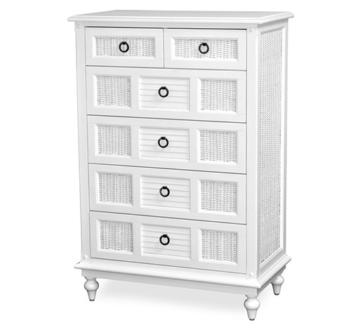 6 Drawer Chest Tropical White Wicker