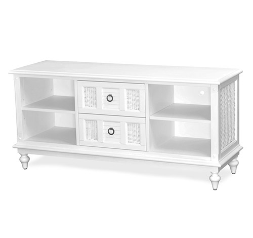 Entertainment Center Tropical White Wicker