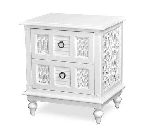 2 Drawer Nightstand Tropical White Wicker