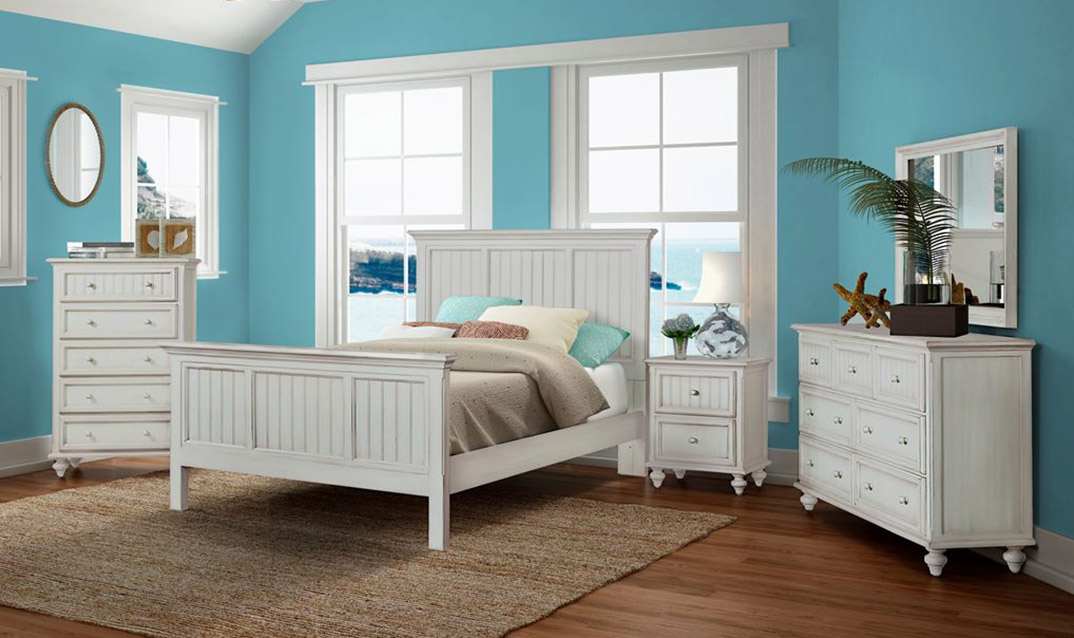 Montserrate Distressed White Bedroom Funiture
