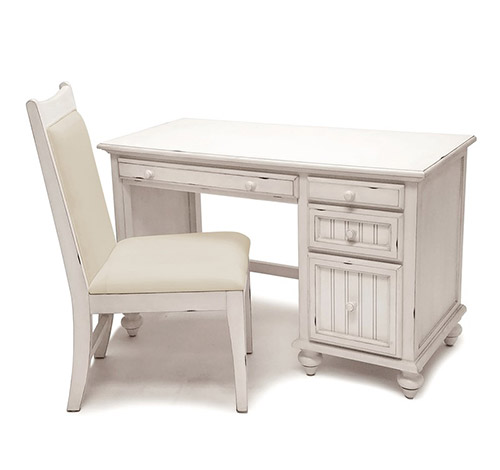 Montserrat Distressed White Coastal Casual Desk and Chair