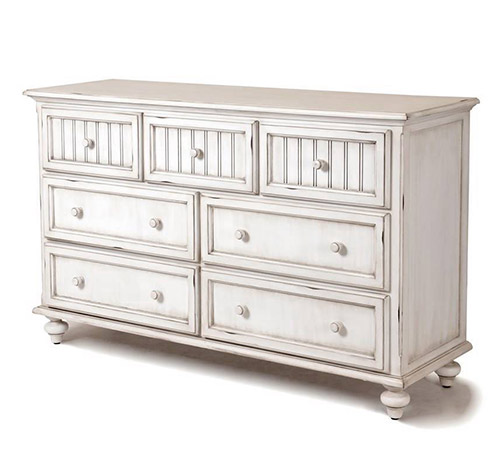 Montserrat Distressed White Coastal Casual 7 Drawer Dresser