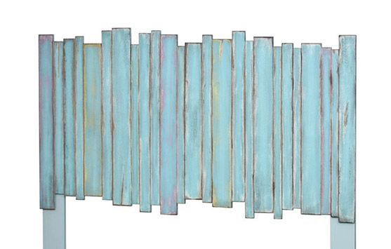 Picket Fence Distressed Blue Coastal Headboard