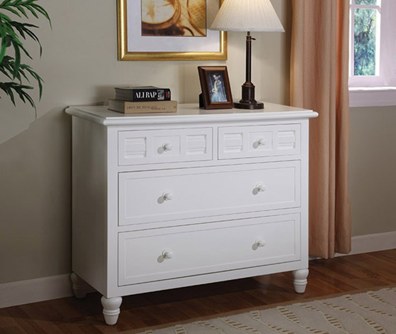 White Tropical Casual 4-Drawer Chest
