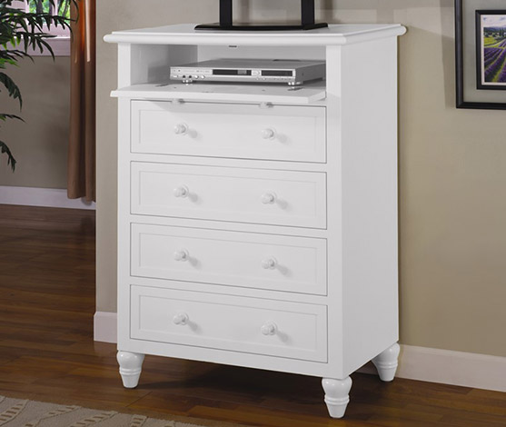 White Tropical Casual 5 Drawer Dresser