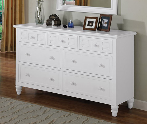 White Tropical Casual 7 Drawer Dresser
