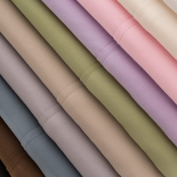 Malouf Woven ™ Brushed Microfiber Sheet Set closeup of all colors stacked