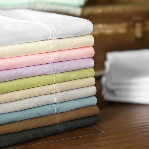 Malouf Woven ™ Brushed Microfiber Sheet Set all colors stacked