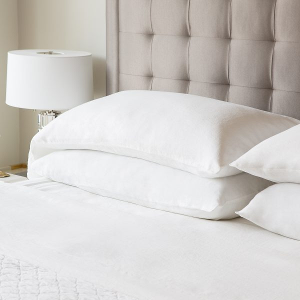 Malouf Woven ™ French Linen Sheets and pillowcases on bed