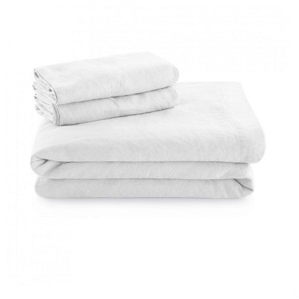 Malouf Woven ™ French Linen Sheets and Pillowcases - White