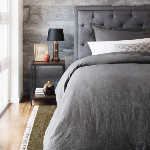 bedroom set with Malouf Woven ™ French Linen Duvet Cover Set in Charcoal