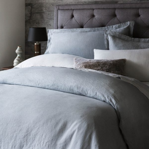 bedroom set with Malouf Woven ™ French Linen Duvet Cover Set in Smoke