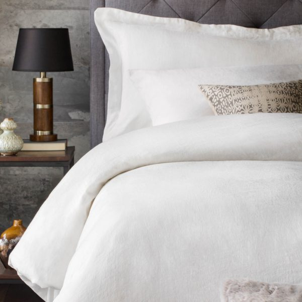 bedroom set with Malouf Woven ™ French Linen Duvet Cover Set in White