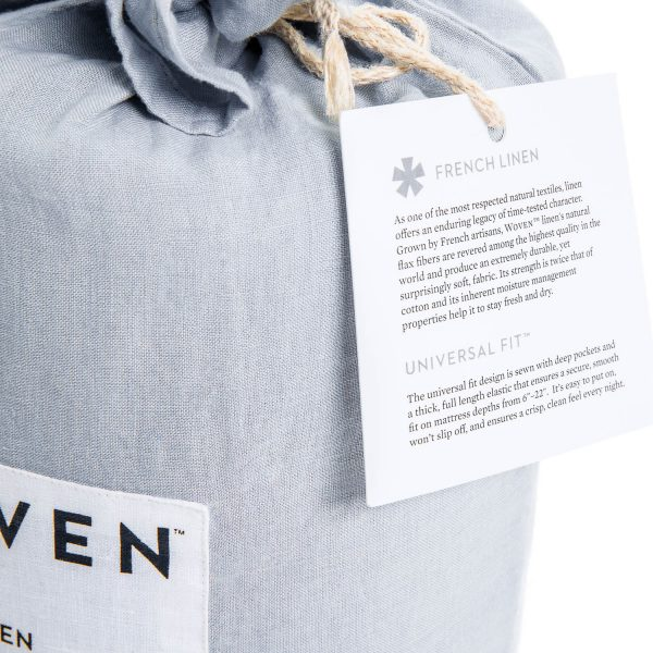 Malouf Woven ™ French Linen Sheet Set label closeup