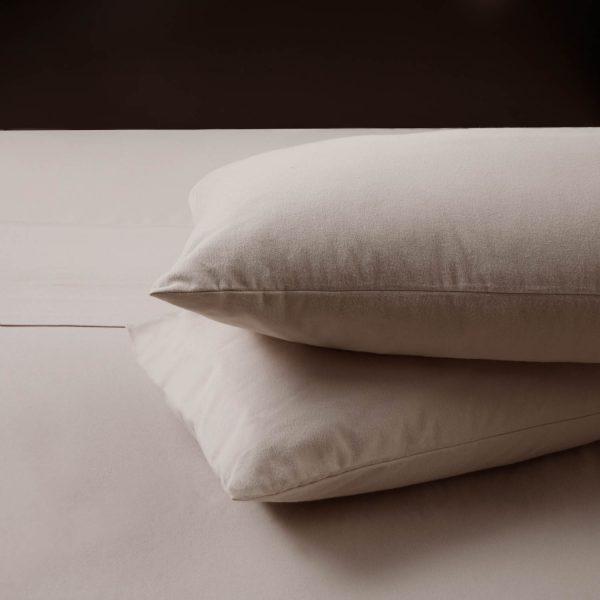 closeup of pillow cases Malouf Woven ™ Portuguese Flannel Sheet Set - Oatmeal