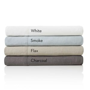 Malouf Woven ™ French Linen Sheet Sets stacked with color names