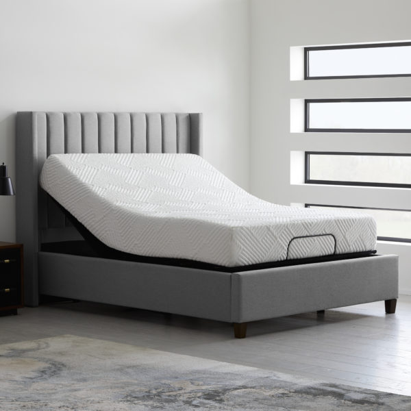 Malouf E255 Adjustable Base pictured with mattress and bed frame