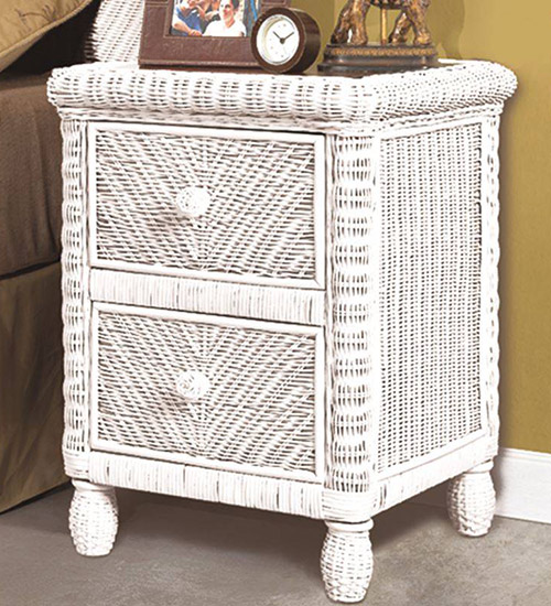 white wicker two drawer night stand