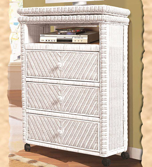 tall white wicker TV stand with three drawers