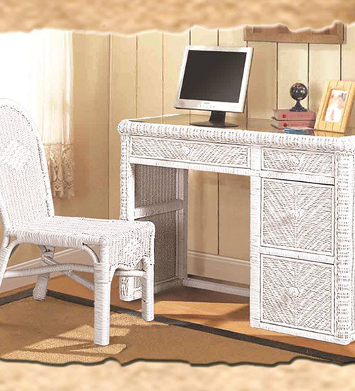white wicker desk and chair set