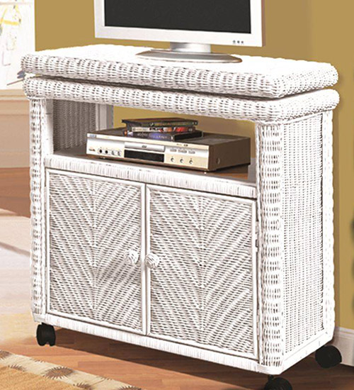Low white wicker TV stand