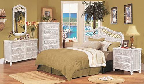 Sanibel white wicker bedroom set